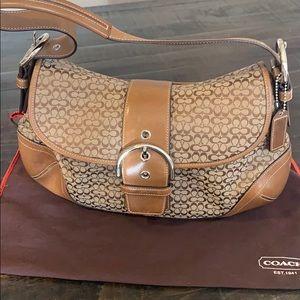 Coach brown leather signature jacquard